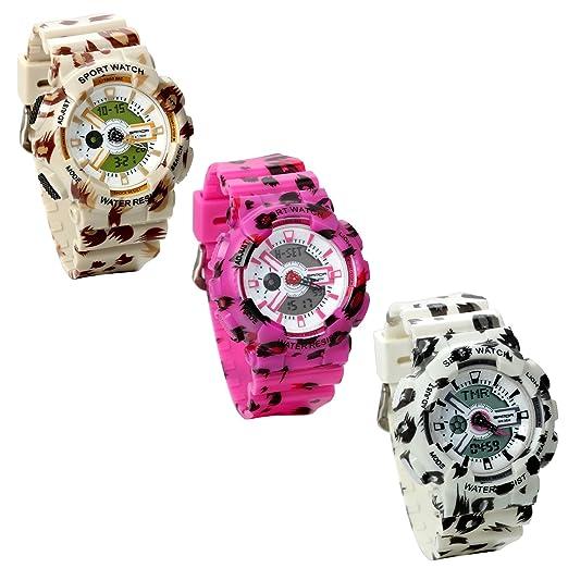 Jewelrywe 3pcs Reloj Militar de Camuflaje, Reloj Digital Deportivo de Jóvenes Multifunciones para Aire Libre, Marrón Rosa Blanco Relojes Unisex: Amazon.es: ...