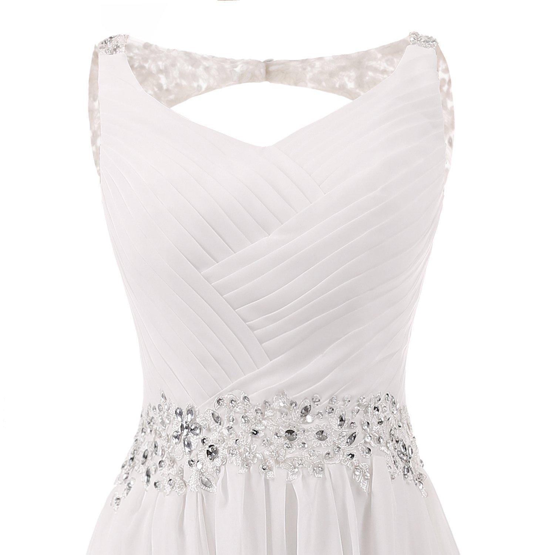 EDressy Womens Long Chiffon Wedding Dresses Beaded Sequins V-Neck Bridal Gowns Backless