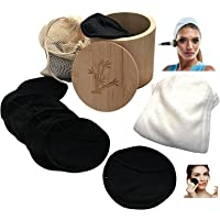 Reusable Bamboo Makeup Remover Pads with Adjustable Spa Headband. 16 Pieces Face Cleansers, Bamboo Storage Box and…