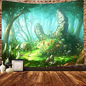 Simsant Psychedelic Plant Tapestry Forest Trees Wonderland Mushroom Hippie Adventure Forest Tapestry 80x60inch Oversized Art Tapestry Living Room Psychedelic Decor Blanket GTHXSI493