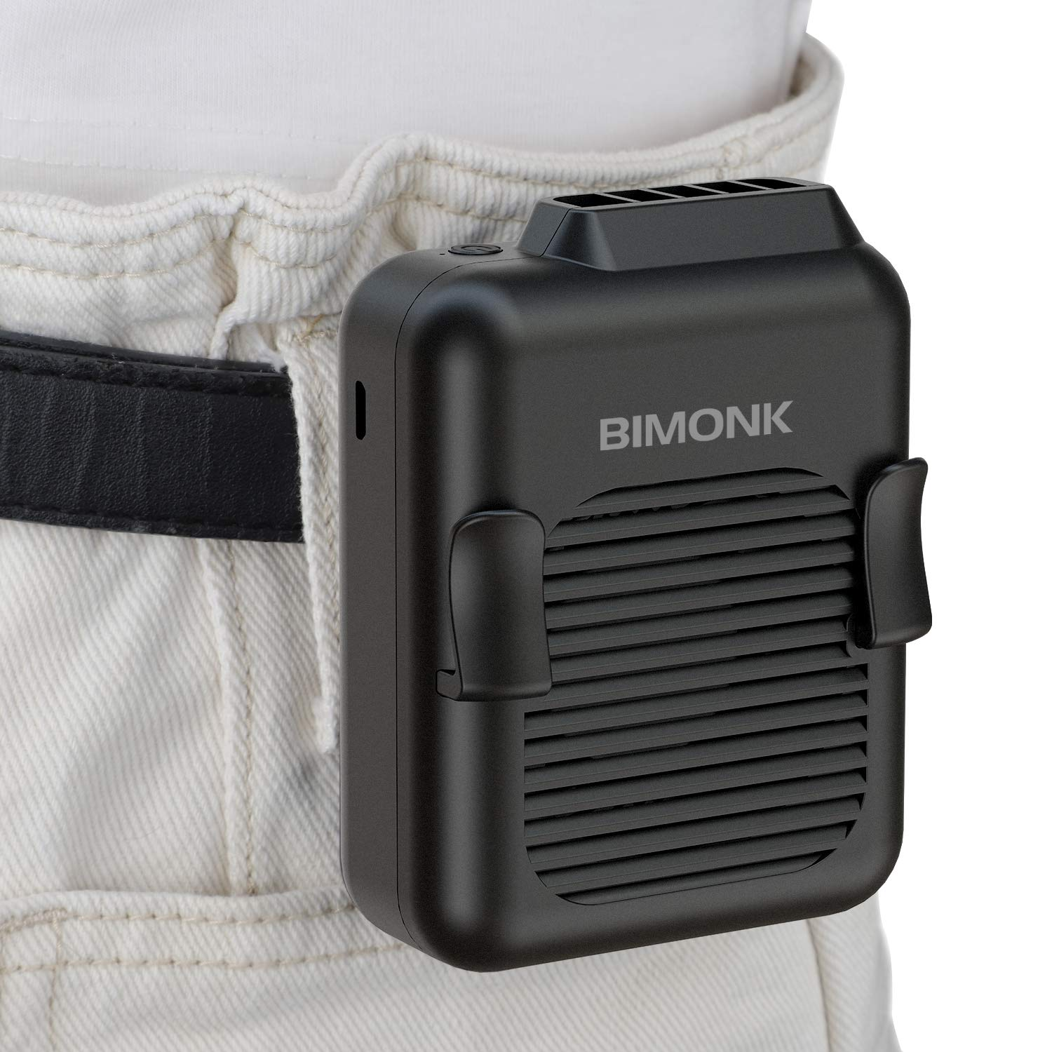 BIMONK Personal Hang Waist Clip on Fan, Portable Handsfree USB Necklace Fan with 15H Working Time, 3 Speeds Mode, and USB Rechargeable Battery Operated, Mini Waist Cooling Fan for Outdoor Camping