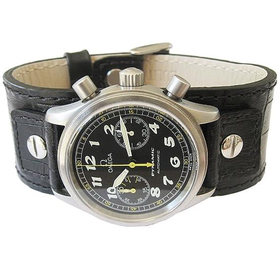 Eulit Alemania 22 mm negro con remaches Cuff crocodile-grain piel correa de reloj para