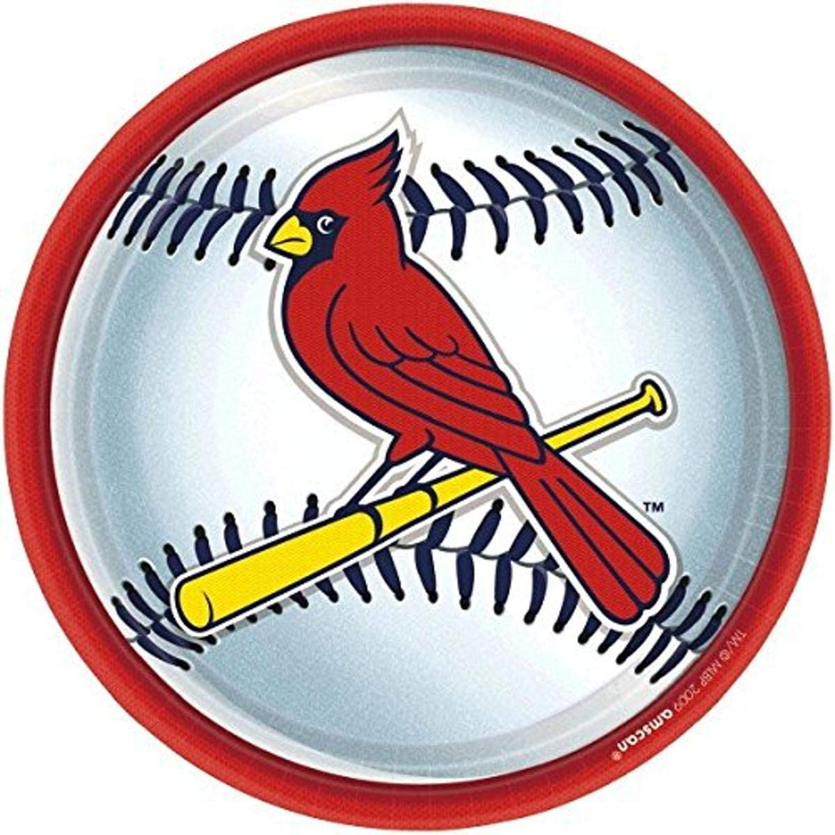 """""""St. Louis Cardinals Major League Baseball Collection"""" 9"""" Round, Party Plates"""