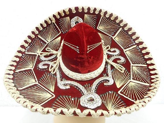 5f8c57c3f7122 CHARRO rojo mexicano Mariachi Sombrero Sombrero Con Multicolor recortar -  Adulto  Amazon.com.mx  Hogar y Cocina