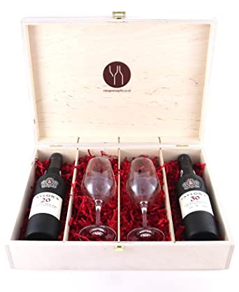 Taylors 50 Years Of Port 375 Cl And Two Glasses Presented In A Wooden