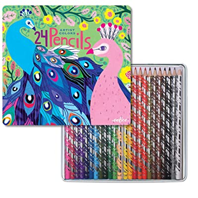 eeBoo Colored Pencils in Peacock Tin Case, Set of 24: Toys & Games