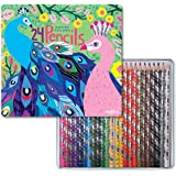 eeBoo Colored Pencils in Peacock Tin Case, Set of 24