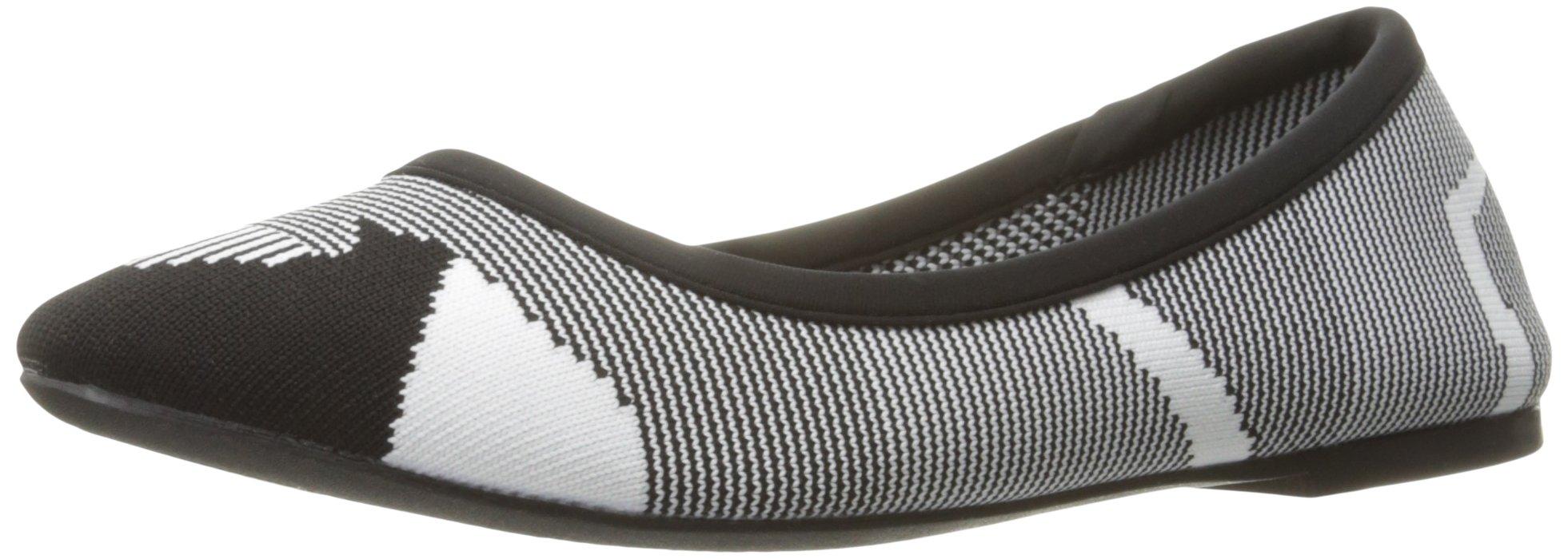 Skechers Women's Cleo Wham Flat, Black/White, 8.5 M US