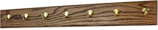 "product image for Oak Wall Mounted Coat Rack with Solid Brass Singular Style Hooks 4.5"" Ultra Wide (36"" x 4.5"" with 7 Hooks, Walnut)"