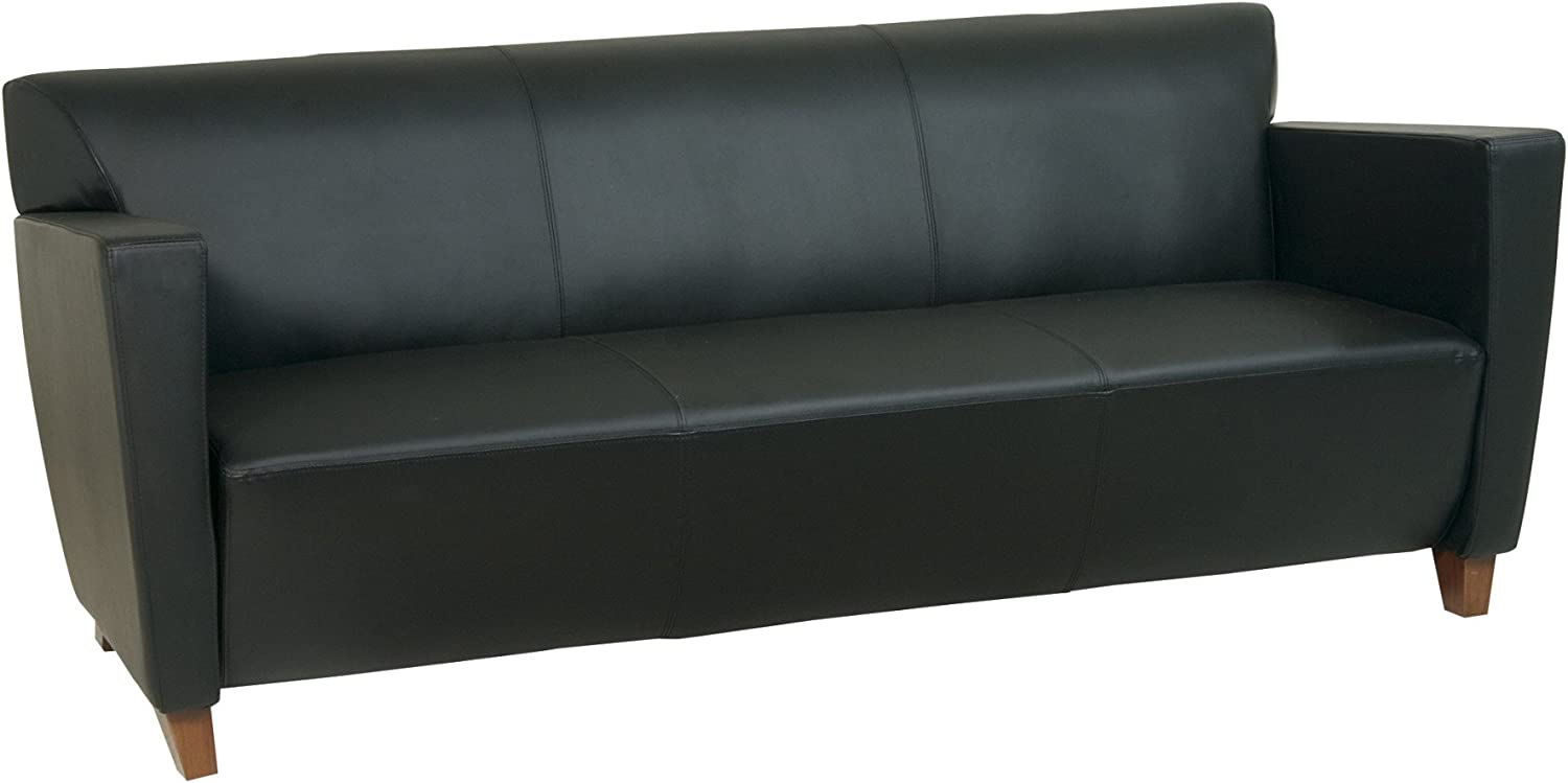 Office Star Modern Leather Sofa with Cherry Finish Legs