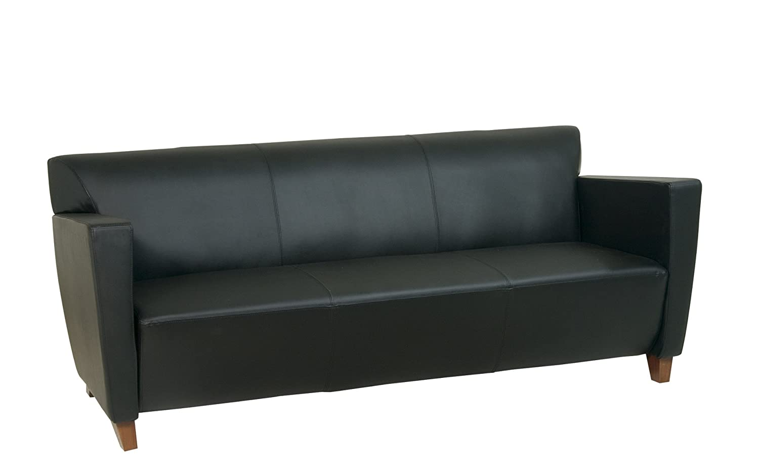 Black Leather Couch Part - 28: Amazon.com: Office Star Modern Leather Sofa With Cherry Finish Legs, Black:  Kitchen U0026 Dining