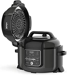 Ninja OP350co Foodi 9-in-1 Pressure, Broil, Dehydrate, Slow Cooker, Air Fryer, and More, with 6.5 Quart Capacity and a High Gloss Finish (Black) - Renewed