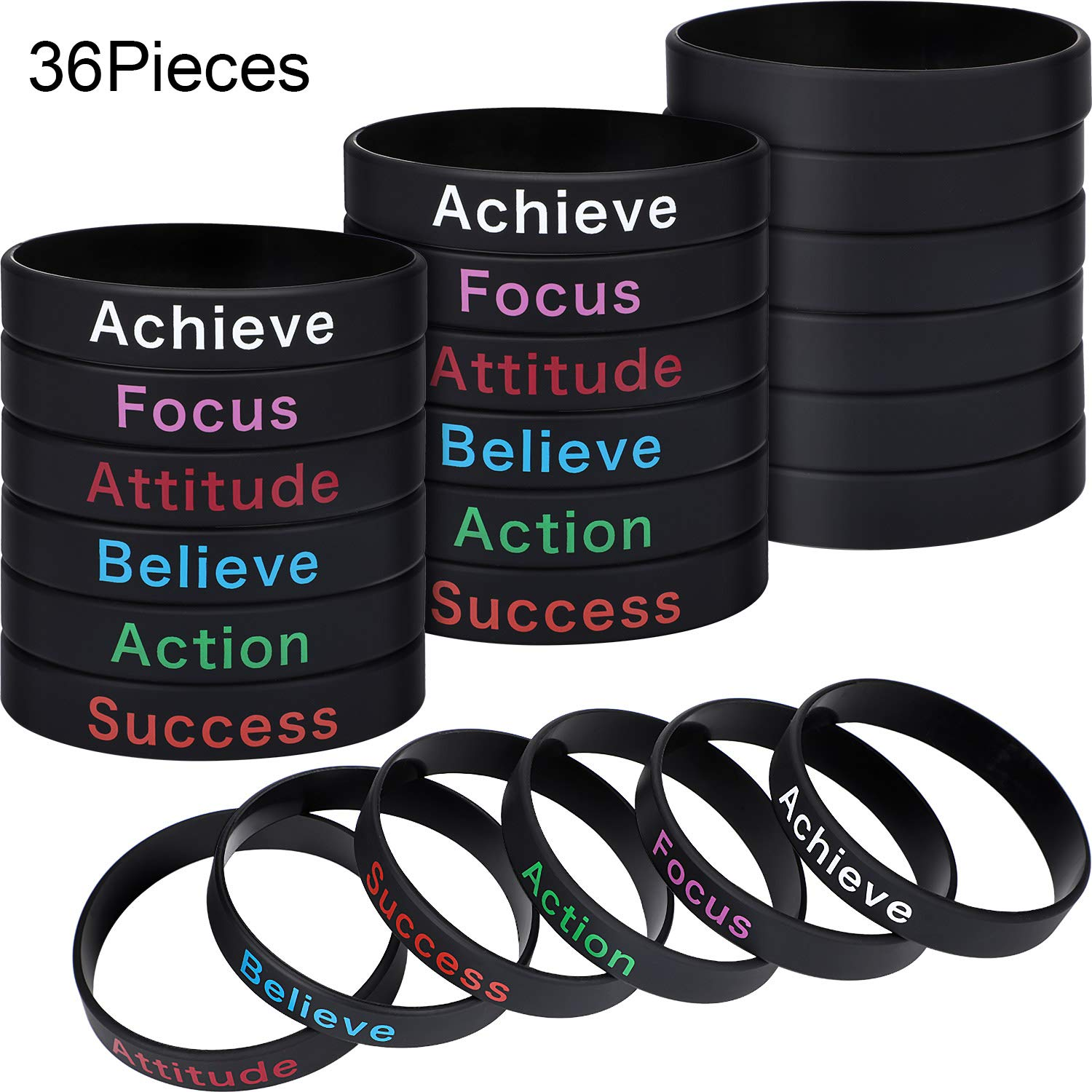 36 Pieces Inspirational Silicone Bracelets Motivational Rubber Wristbands Stretch Rubber Bracelets for Men and Women by Hicarer