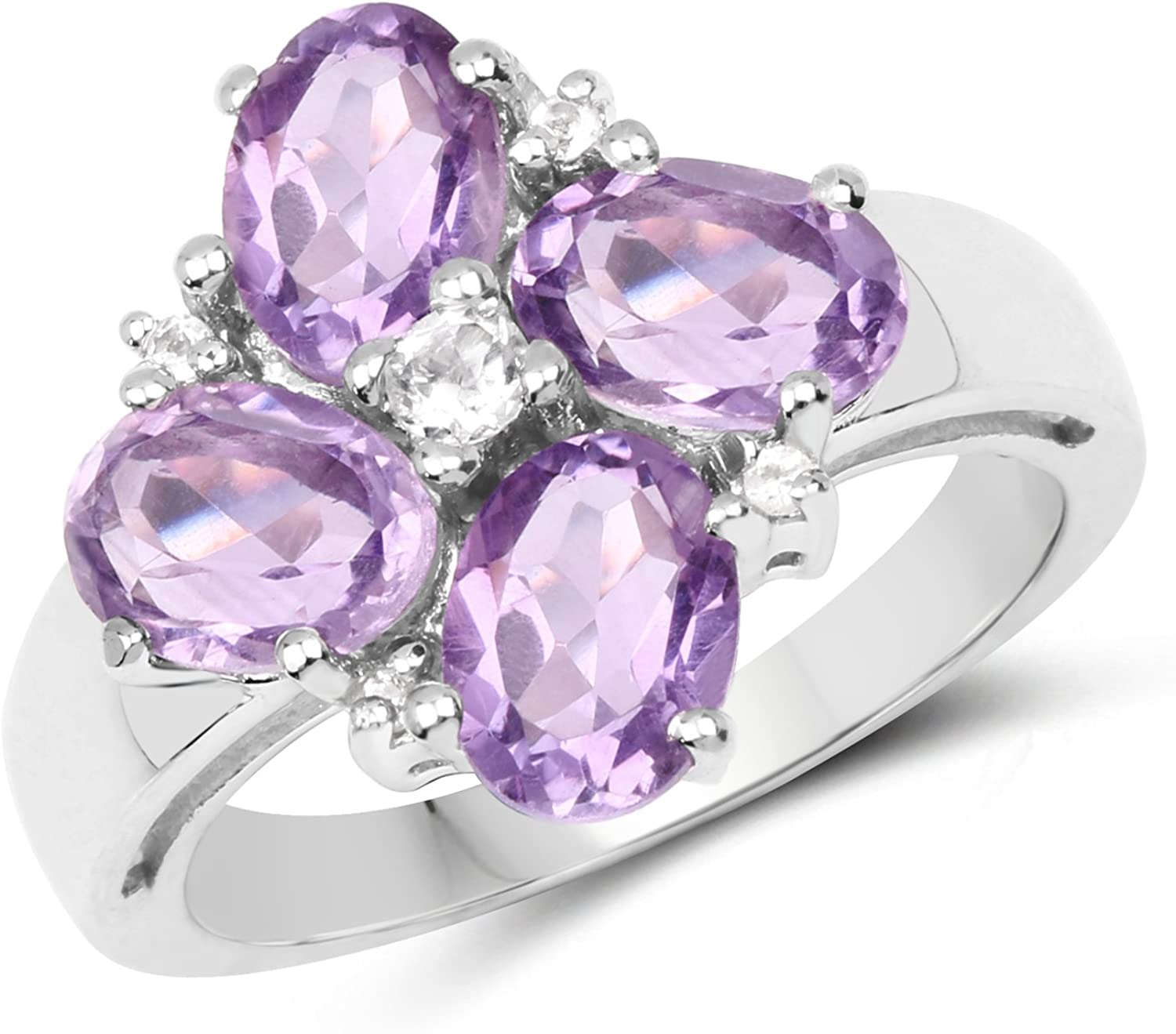 Oval Amethyst and White Topaz Cluster Ring 925 Sterling Silver Jewelry
