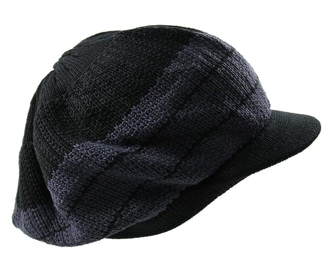 17cc2e68f12 Amazon.com  Knit Cotton Beanie Visor (Black Gray)  Clothing