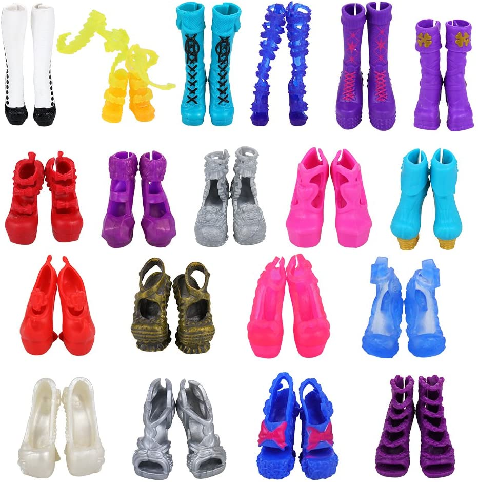 100 Pairs High Heel Shoes Sandals Boots Barbie Doll Toy Accessories Girl Gift 26