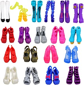 BARWA 10 Pairs Doll Shoes Accessories for Monster High Doll Fashion High Heels Sandals Boots Shoes Pack