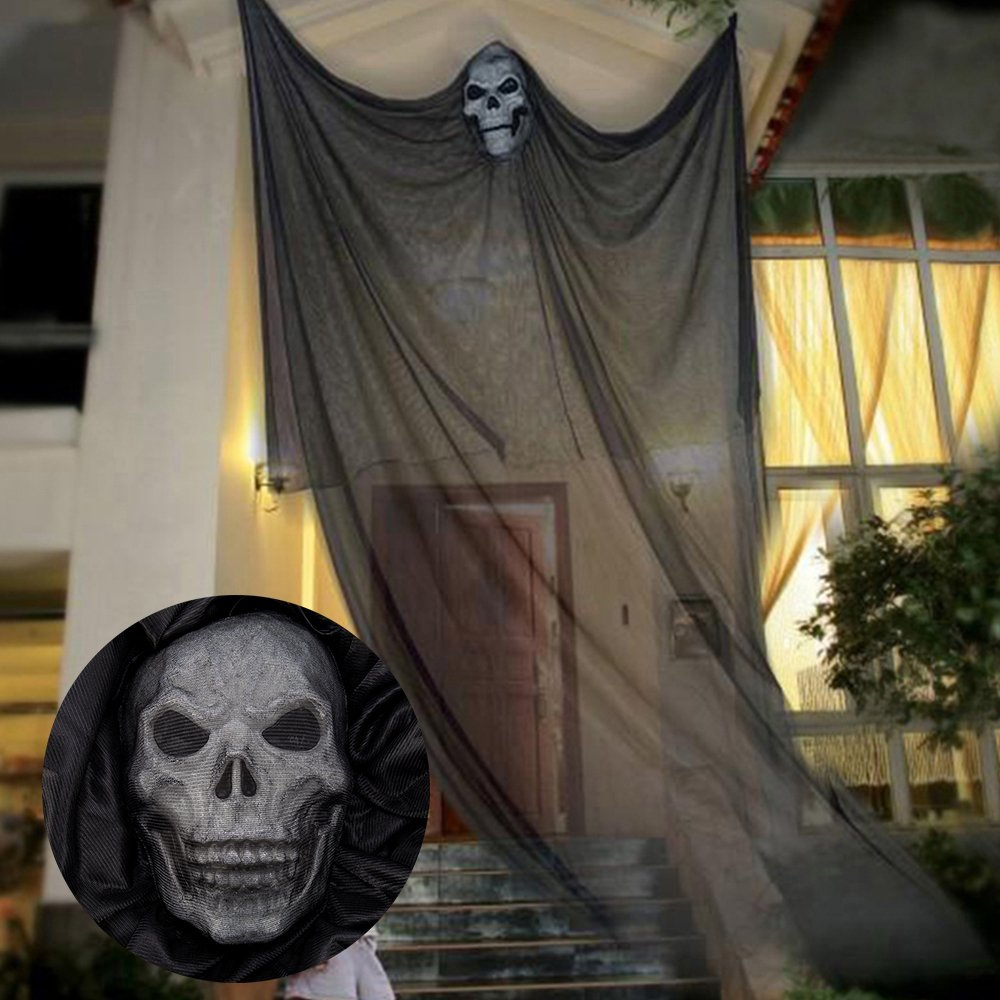 Wrightus 10 FT Halloween Decorations Hanging Ghost Props Scary Spooky Decor for Outdoor Indoor Yard Party BarSupplies (Black)