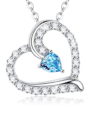 Valentine s Day Gift Love Heart Pendant Sterling Silver March Birthstone  Aquamarine Swarovski Necklace Jewelry-20 quot d194526f97dd