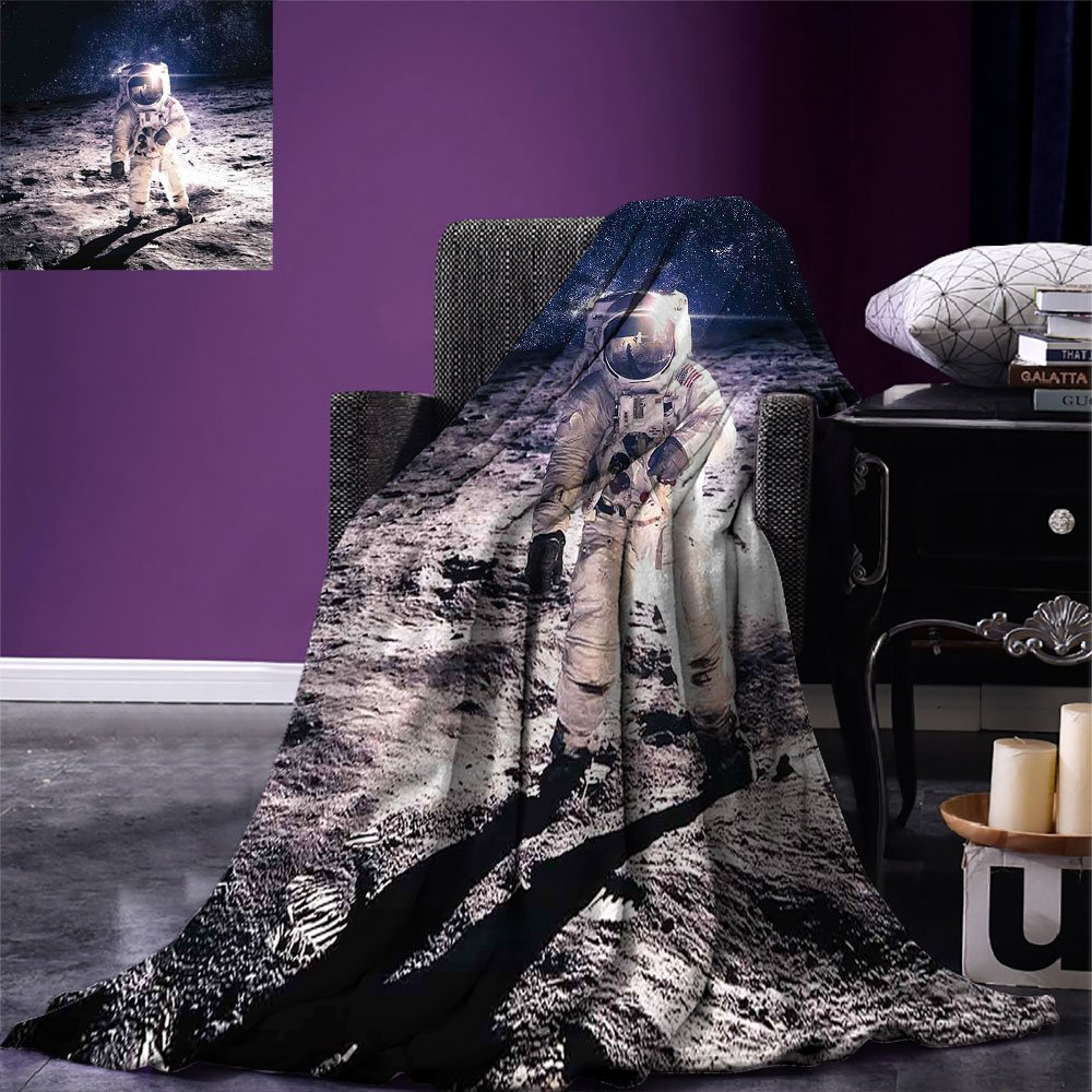 smallbeefly Outer Space Weave Pattern Extra Long Blanket Moon Spaceman on the Surface of Orbit Background Cosmos Galaxy Solar Photo Custom Design Cozy Flannel Blanket Brown Blue