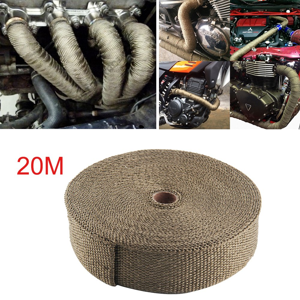 Xpork 20M Titanium Exhaust Wrap Roll Heat Shield Tape Manifold Downpipe High Temp Bandage Tape Roll Car Motorcycle Turbo Truck Diesel Racing Marine XD