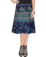 Skirt Ethnic Style Cotton Wrap Around Block Print Knee Length Skirt