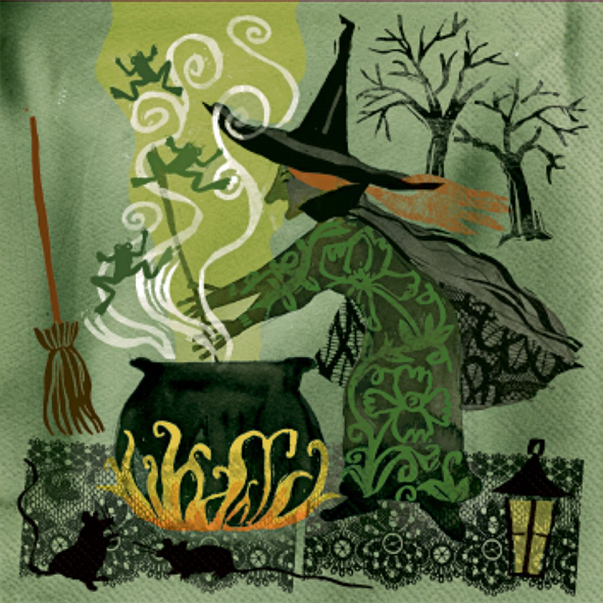 Ideal Home Range 20 Count Decorative Paper Napkins, Cocktail, Witch B00EXNC40O