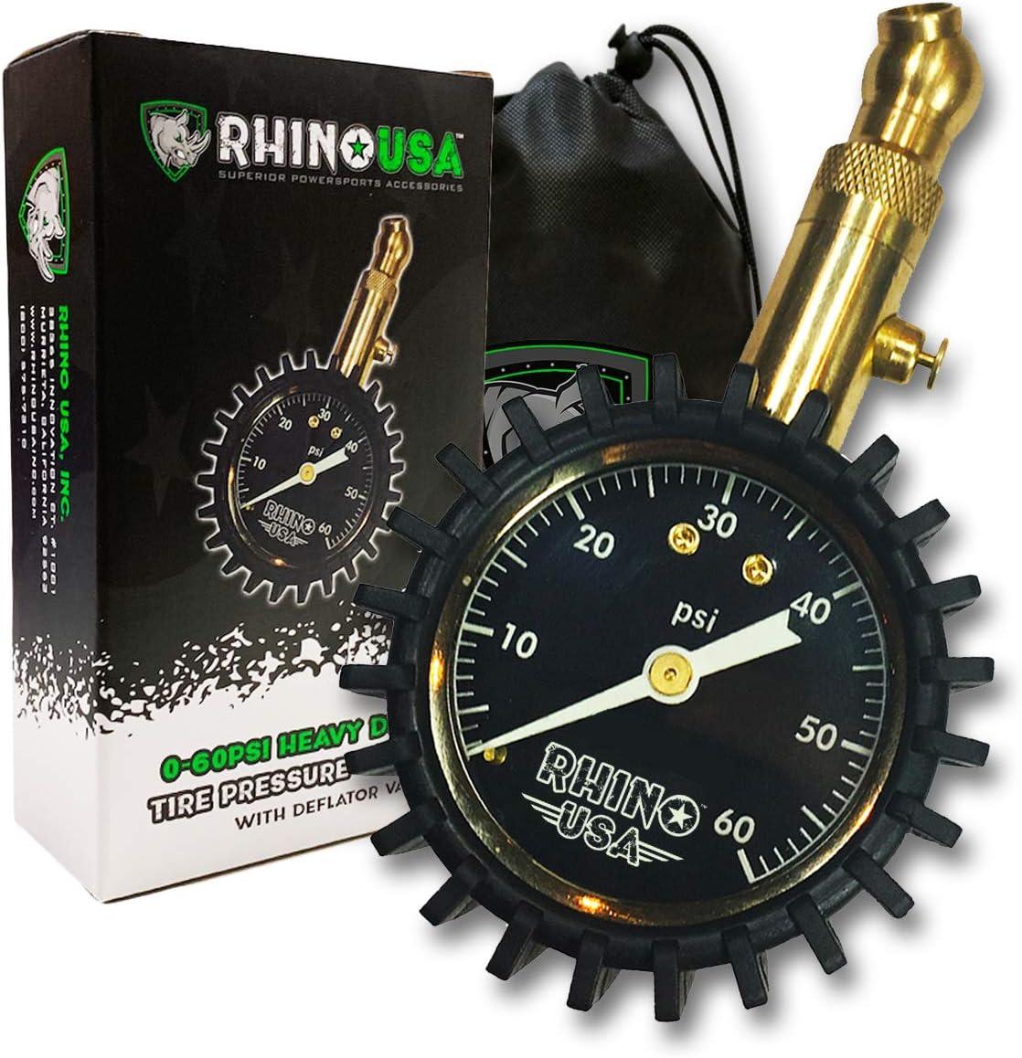 Rhino USA Heavy-Duty Tire Pressure Gauge