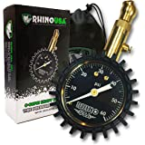 """Rhino USA Heavy Duty Tire Pressure Gauge - Certified ANSI B40.1 Accurate, Large 2"""" Easy Read Glow Dial, Solid Brass Hardware,"""