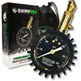 Rhino USA Heavy Duty Tire Pressure Gauge - Certified ANSI B40.1 Accurate, Large 2' Easy Read Glow Dial, Solid Brass…