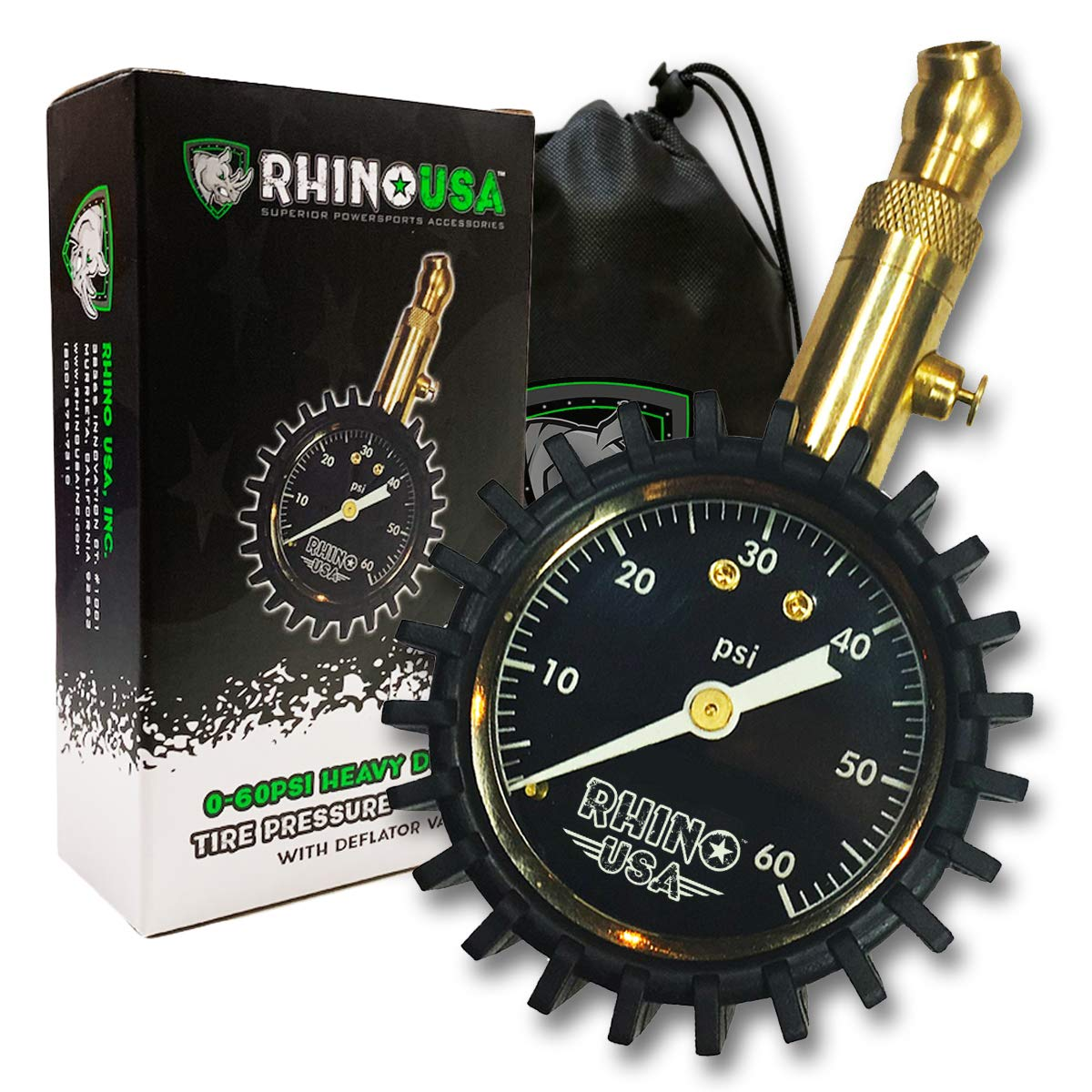 Rhino USA Heavy Duty Tire Pressure Gauge (0-60 PSI) - Certified ANSI B40.1 Accurate, Large 2'' Easy Read Glow Dial, Solid Brass Hardware, Best Any Car, Truck, Motorcycle, RV... by Rhino USA