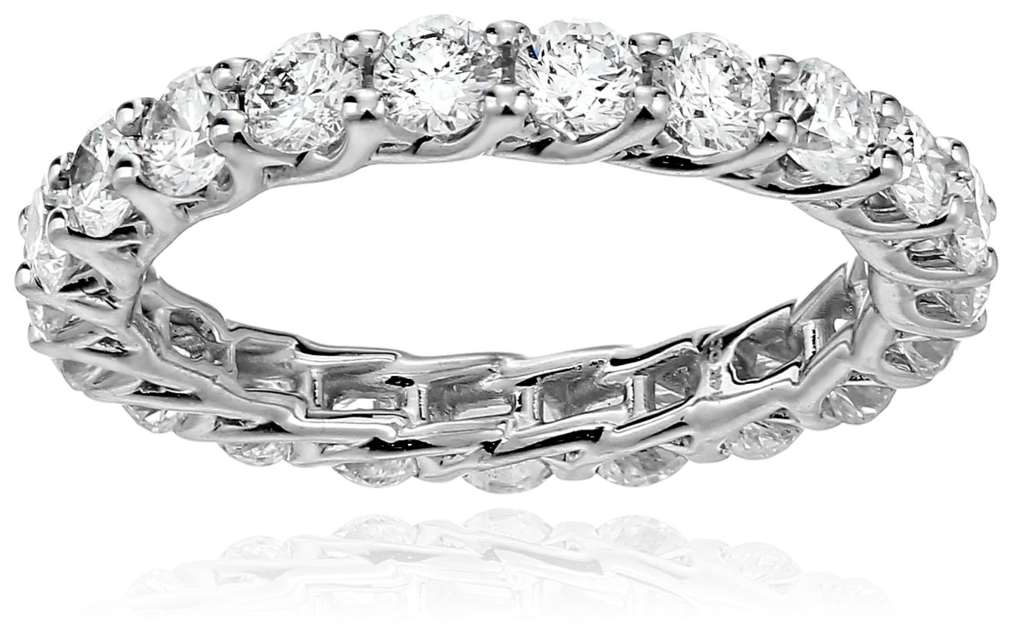 14k White Gold Diamond Trellis Eternity Ring (2cttw, I Color, I1 Clarity), Size 6