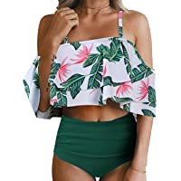 b65f2e692c Tempt Me Women Two Piece Off Shoulder Ruffled Flounce Crop Bikini Top with  Print Cut Out