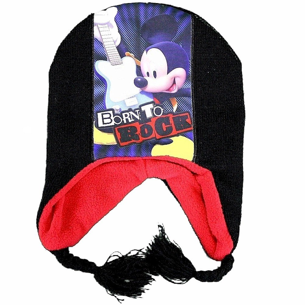 2-4T Disney Mickey Mouse Born To Rock Toddler Boys Black Hat /& Mittens Set Sz