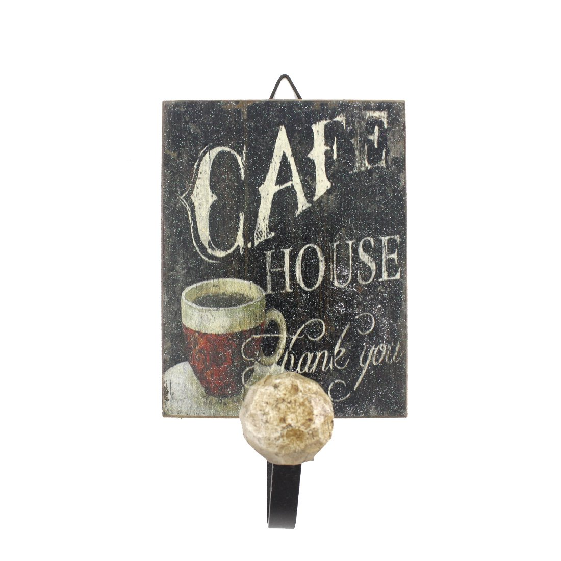 Vintage Feel Home Decor Wooden Romantic Coffee Theme Rectangular Wall Hanger (Cafe House)