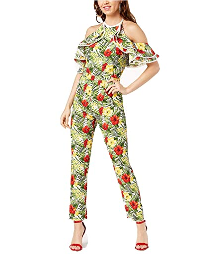 55c928ce760 Amazon.com  XOXO Juniors  Printed Cold-Shoulder Halter Jumpsuit ...