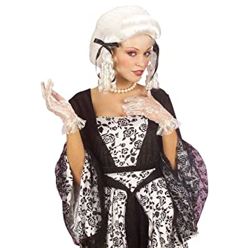 Peluca de carnaval barroca rococó dama vampiro cabello rizos platino histórico blanca diva pelo rizos duquesa