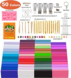Polymer Clay, Farielyn-X 50 Colors 1 oz/Block Soft Oven Bake Modeling Clay Kit, 19 Tools and 10 Kinds of Accessories, Non-Stick, Non-Toxic, Ideal DIY Gift for Kids [ Total 3.6LB ]