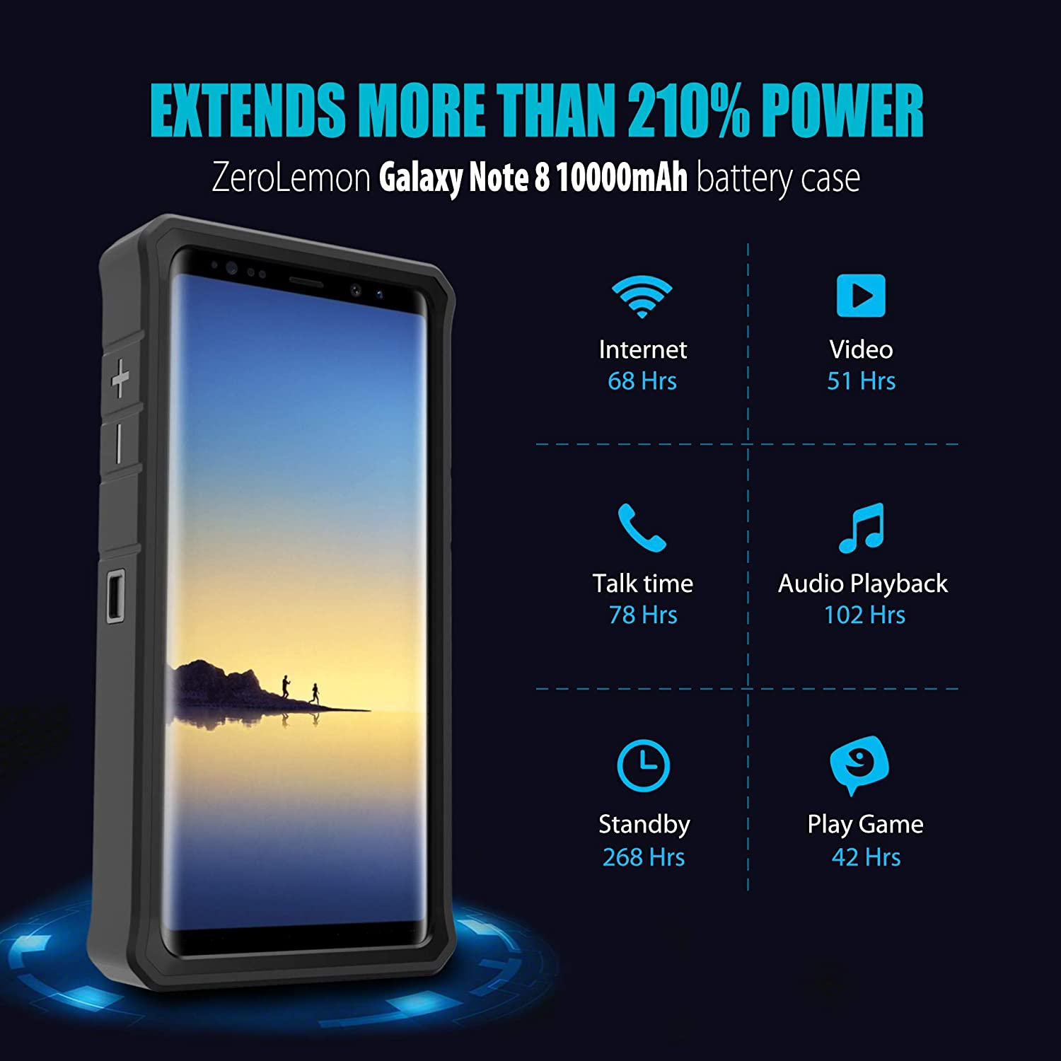 new photos 9f1cf f6767 Galaxy Note 8 Battery Charger Case, ZeroLemon ZeroShock 10000mAh Extended  Rugged Charging Case Portable Battery Case for Galaxy Note 8 - Black