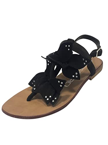 7dd4c0caf8f9f Oroscuro Made in Italy Italian Designer Womens Ladies Flat Leather Sole  Sandals Open Toe Post Buckle Ankle Strap Flats Summer Beach Holiday Shoes  Size 2 3 4 ...
