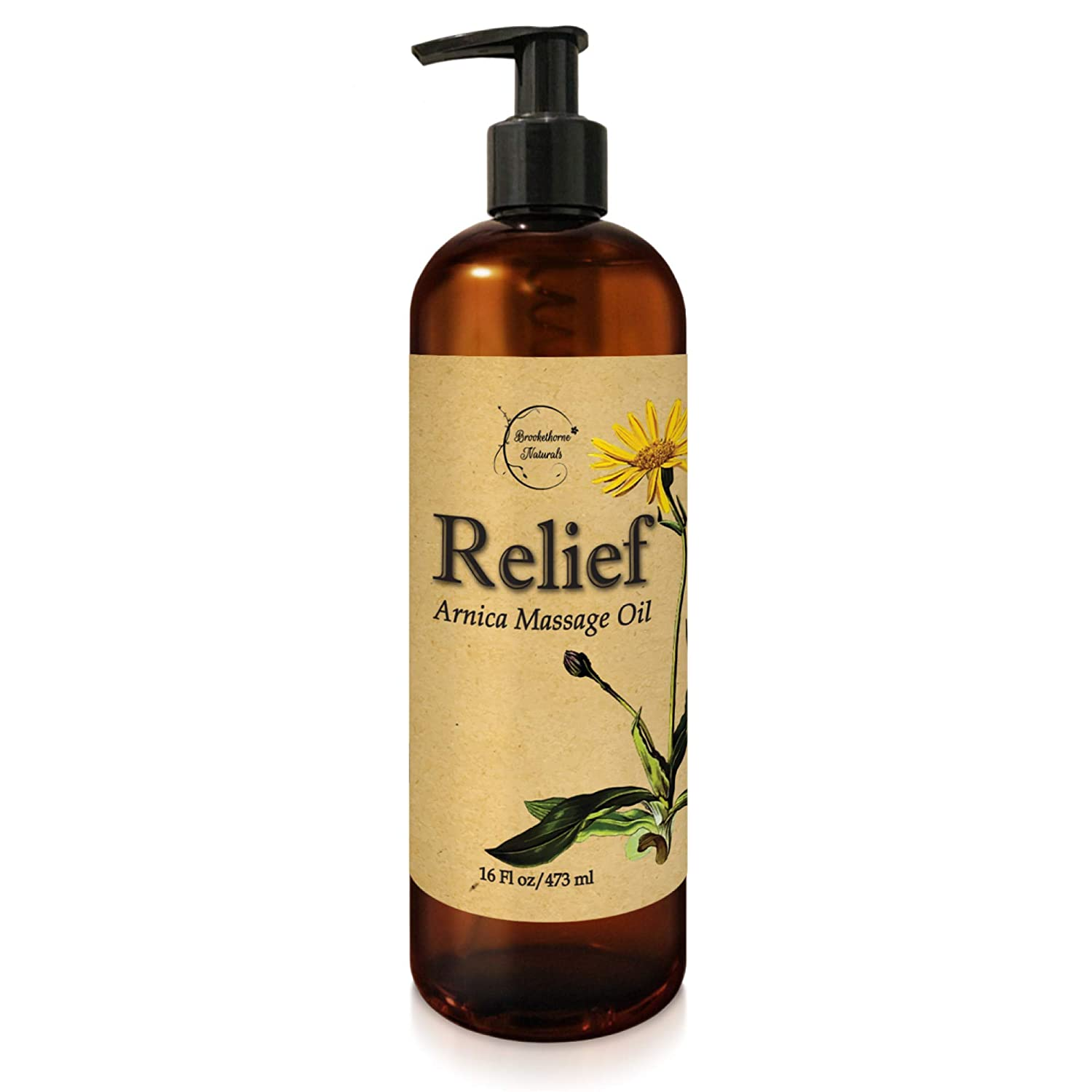 Relief Arnica Massage Oil for Massage Therapy & Home Use Therapeutic Massaging Oil Great for Lymphatic Drainage, Sore Muscles & Natural Joint Pain Relief with Arnica Montana & Lemongrass Essential Oil