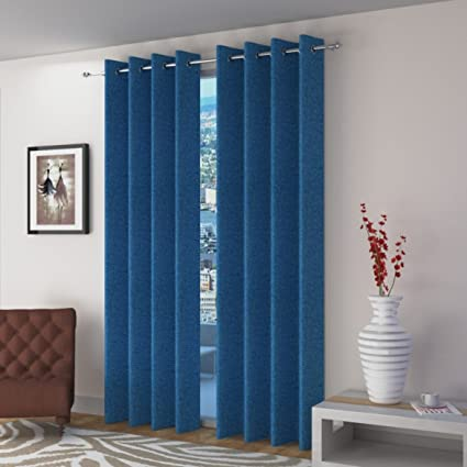 Fresh From Loom Jute Eyelet Curtains(Blue, 7ft) - Pack of 2