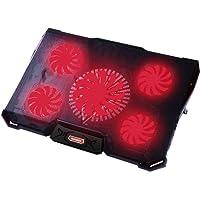 """Nobelbird Base de Refrigeración para Ordenador Portátil 12""""-17.3'', Base Portatil Gaming con 5 Ventiladores Ultra Silenciosos con Iluminación LED Roja, 2 Puertos USB 2.0,7 Niveles de Diseño Ajustable"""