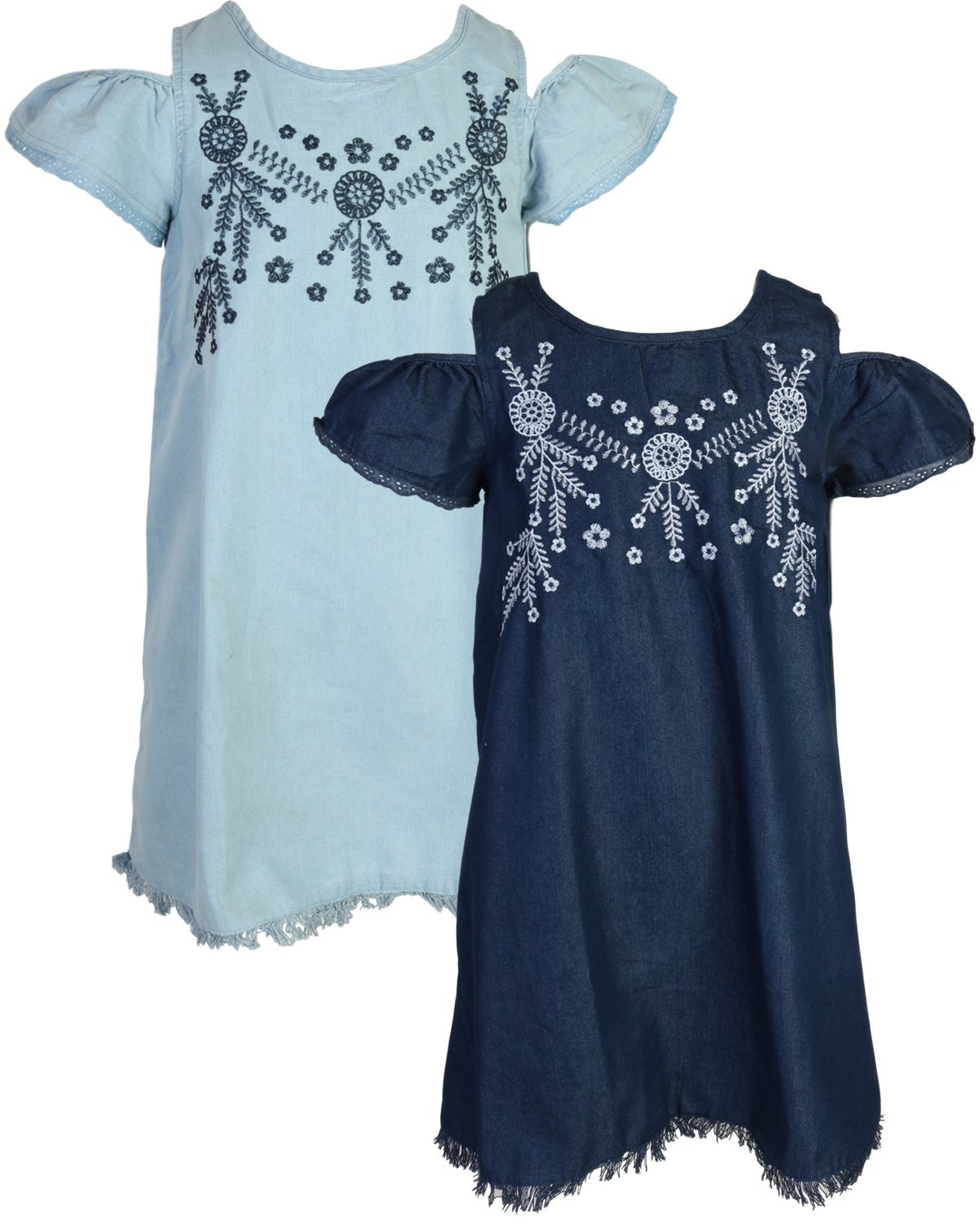 dollhouse Girls Sleeveless Spring/Summer Casual Denim Dress (2 Pack) Fringe Trim, Size 7/8'