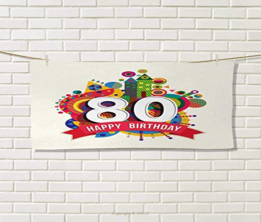 80 cumpleaños, toalla, fiesta de cumpleaños, invitación ...
