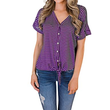 74d32f1374f GOVOW Purple Tops and Blouses for Women Formal Summer Short Sleeve Striped  Bandage Clothes T Shirt at Amazon Women s Clothing store