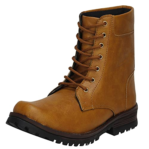 3957d08663a Kraasa Men's Synthetic Leather Combat Boots