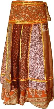 Dancers World Ltd Falda Envolvente India de Seda Hecha a Mano de ...