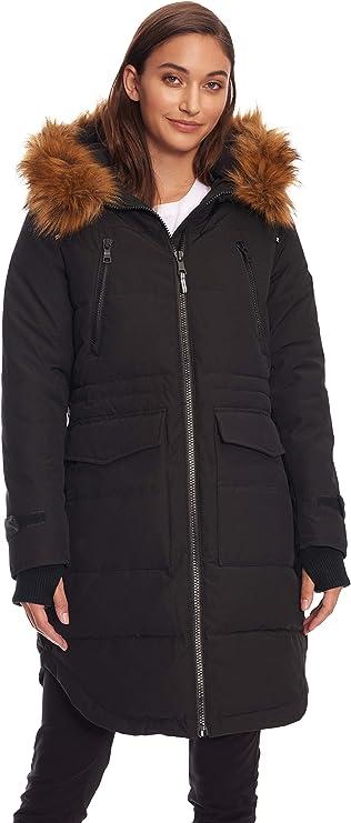 Alpine North Women's Vegan Down Drawstring Winter Coat (Large, Black)