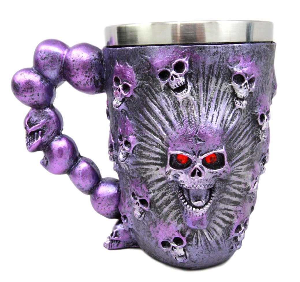 Atlantic Collectibles Ossuary Metallic Purple Protruding Skull With Bloodshot Eyes Beer Stein Tankard Coffee Cup Drink Mug 12oz